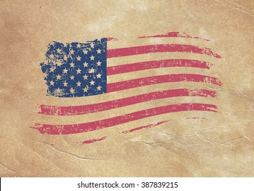 American flag on an old piece of paper