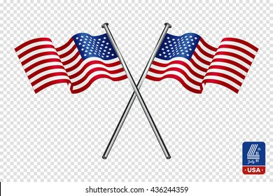 American flag on transparent background. Happy fourth of July.