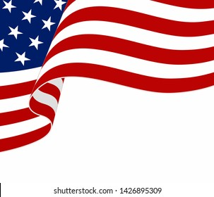 American flag on white background. Waving flag of the United States of America. Wavy American Flag for Independence Day celebration. USA 4 th of July  banner template. Vector illustration.