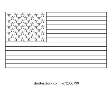American flag outline vector eps10. Usa flag outline. USA flag outline.