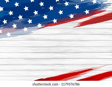 American flag paint on white wood background vector illustration