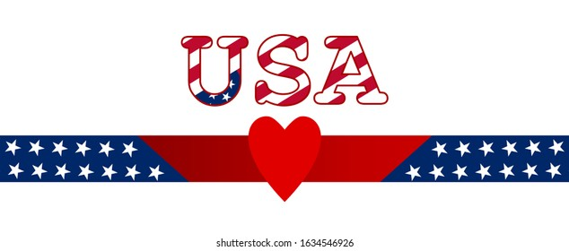 American flag patriotic background, USA and heart. Banner, poster, card. EPS 10