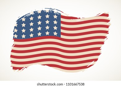 American flag patriotic illustration. Artistic brush stroke isolated over white. United States  Independence day design element. USA stars and stripes backdrop.