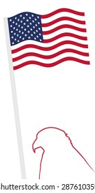 American Flag and pole with eagle shape outline, vector