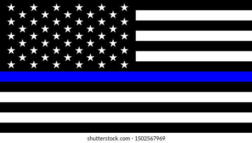 American flag with police support symbol, Thin blue line.  American police in society as the force which holds back chaos, allowing order and civilization to thrive. Poster, card, banner, background