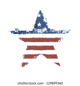 The American flag print as star shaped symbol. Vector, EPS10.