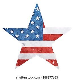 The American flag print as star shaped symbol.t-shirt graphics