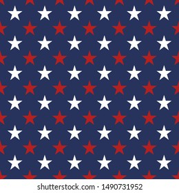American flag red and white stars seamless pattern vector on blue background - Banner,background, wallpaper etc.