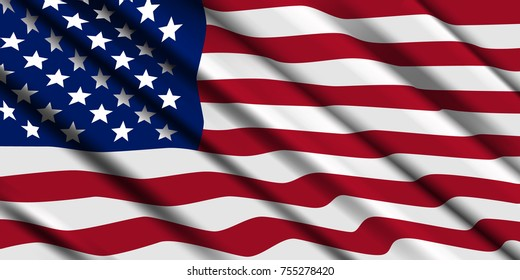 American flag ripple. Vector background.