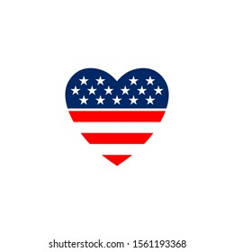 American flag in the shape of a heart. Vector illustration on a white background.