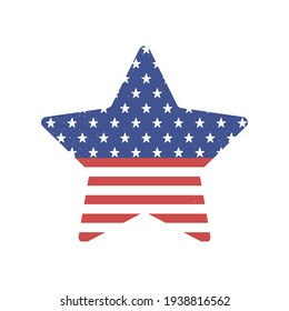 american flag shaped star isolated