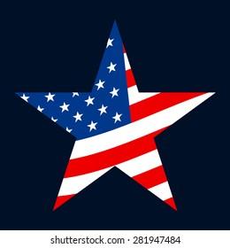 American flag star vector icon