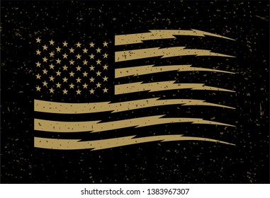 American Flag with Stripes in Lightning Shape