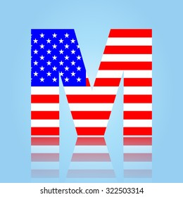 American flag style font