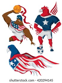 American Flag super hero Characters, Sport (Soccer, Basketball), Eagle (Vector Art)