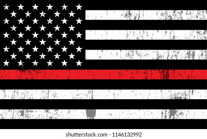 An American flag symbolic of support for firefighters. Vector EPS 10 available.