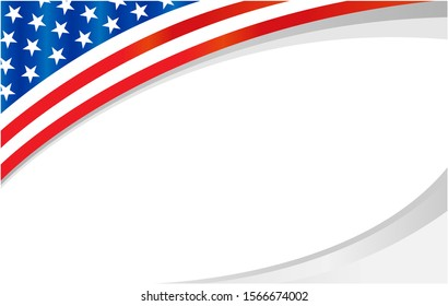 American flag symbolism banner frame with empty space for your text.