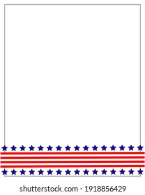 American flag symbols border ribbon stars and stripes with empty space for text.