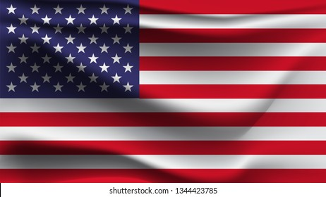 American flag template isolated on gray. Realistic vector illustration waving fabric in the wind
