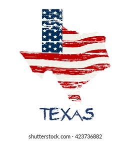 American flag in Texas map. Vector grunge style