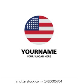American, Flag, Thanksgiving, Usa Business Logo Template. Flat Color