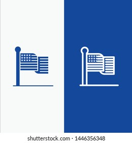 American, Flag, Thanksgiving, Usa Line and Glyph Solid icon Blue banner Line and Glyph Solid icon Blue banner
