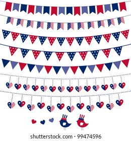 American flag themed vector bunting and garland set. Pattern brushes added to EPS file