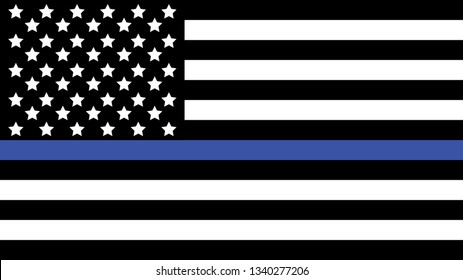 American Flag with Thin Blue Line. Vector illustration.