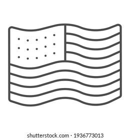 American flag thin line icon, Thanksgiving Day concept, Flag of United States sign on white background, United States of America national symbol icon in outline style. Vector graphics.