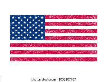 American flag. The flag of the United States of America. Hand drawn flag. USA. American flag illustration. The stars and stripes. American symbol. Banner. Independence Day.