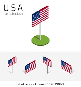 American flag (United States of America), vector set of isometric flat icons, 3D style, different views. Design elements for banner, website, presentation, infographic, poster, map, collage. Eps 10