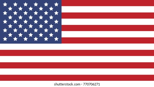 American Flag United States of America country. USA. Illustrator vector