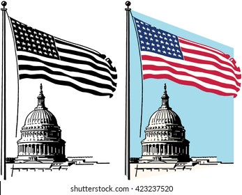 American flag and United States Capitol Building