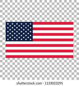 American flag  or USA flag vector icon on transparent background