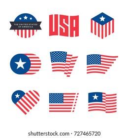 American flag vector emblems, USA flaf logo design elements