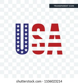 american flag vector icon isolated on transparent background, american flag logo concept