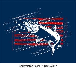 american flag vector illustration tarpon fishing