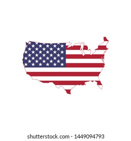 american flag vector on american map, USA map with flag