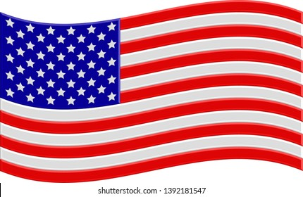 American flag with volumetric elements. Congratulations to the American people on the national holiday Day of the American flag. White background. Vector illustration.