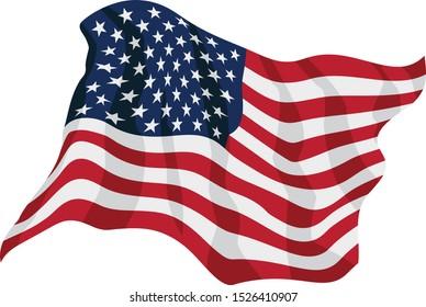 American Flag Waving Isolated Vector Illustration