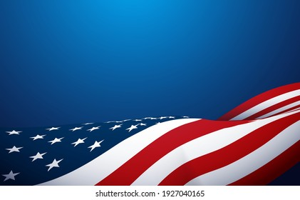 American flag waving on blue background. Vector illustration