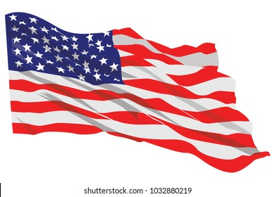 American Flag Waving Vector Illustration