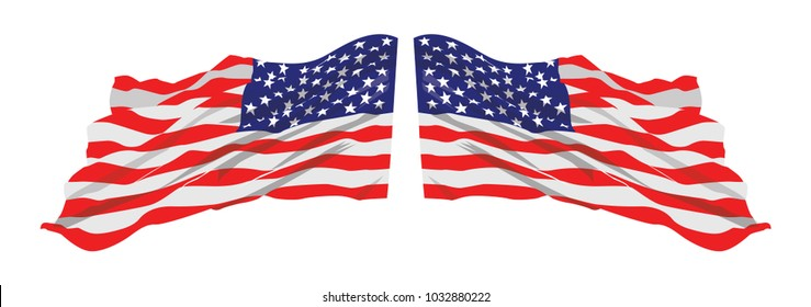 American Flag Waving Vector Illustration