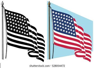 American flag waving in the wind
