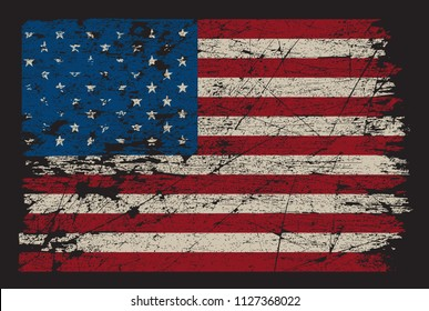American flag.Dirty flag of USA.Vector.