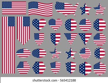 American flags and banners. Big set of different vector illustrations for national holidays: Veterans Day, Independence Day, Memorial Day. Patriotic design of USA flags. Correct proportions and colors