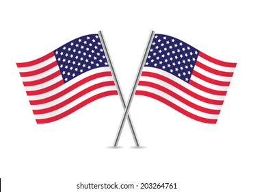 American Flags. Flags of USA. Vector illustration.