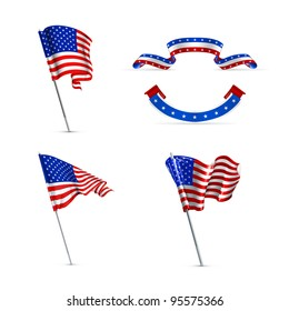 American flags, vector set