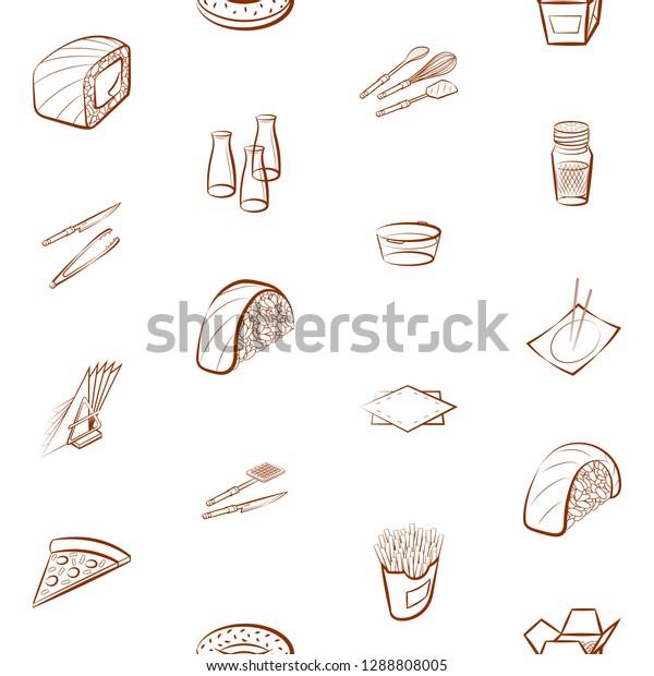 American Food Cutlery Japanese Food Table Stock Vector ...