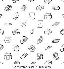 American food, Japanese food, Seafood, Snacks and Table setting set. Background for printing, design, web. Usable as icons. Seamless. Monochrome binary, black and white.